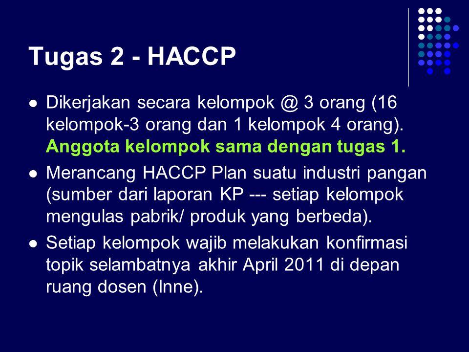 Tugas 2 - HACCP Dikerjakan secara kelompok @ 3 orang (16 kelompok-3 orang dan 1 kelompok 4 orang). Anggota kelompok sama dengan tugas 1.
