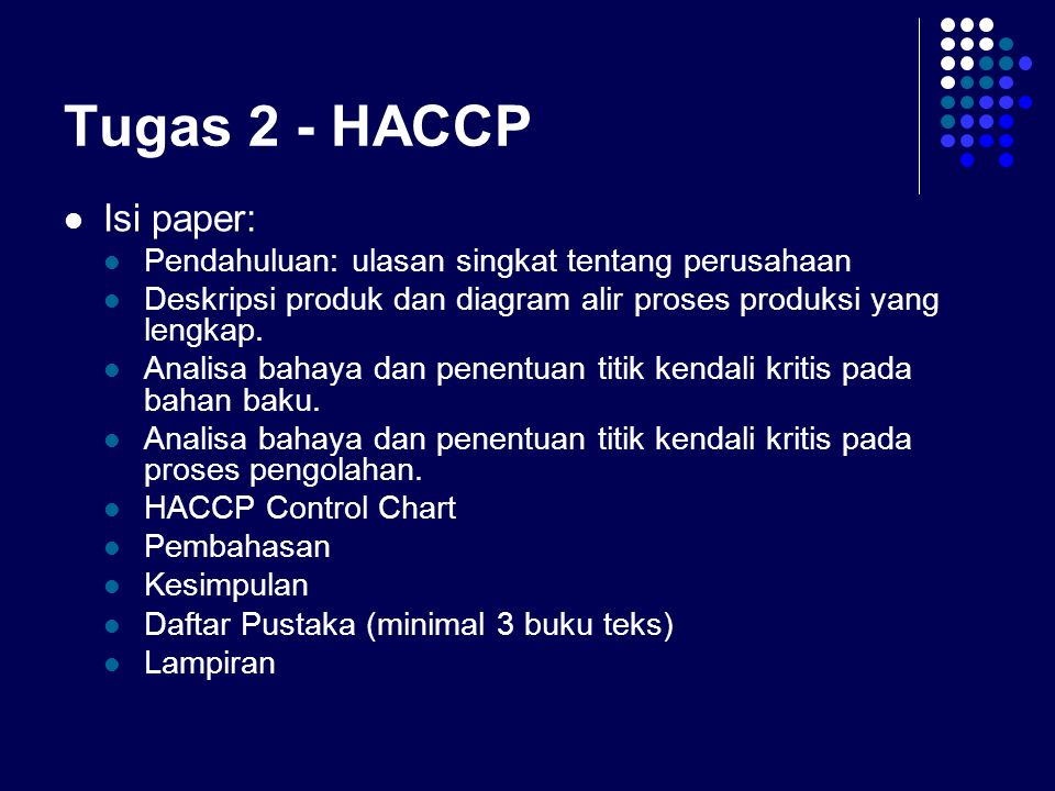 Tugas 2 - HACCP Isi paper: