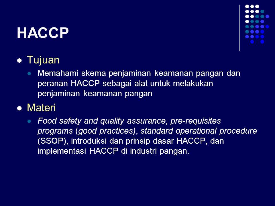 HACCP Tujuan. Memahami skema penjaminan keamanan pangan dan peranan HACCP sebagai alat untuk melakukan penjaminan keamanan pangan.