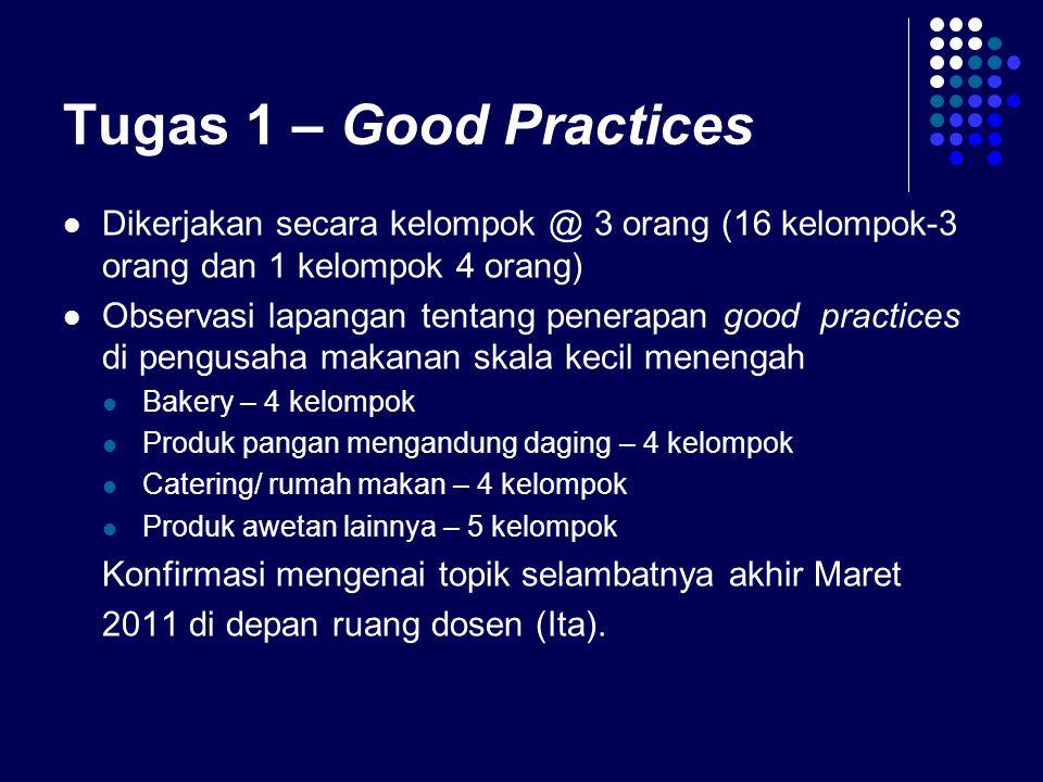 Tugas 1 – Good Practices Dikerjakan secara kelompok @ 3 orang (16 kelompok-3 orang dan 1 kelompok 4 orang)