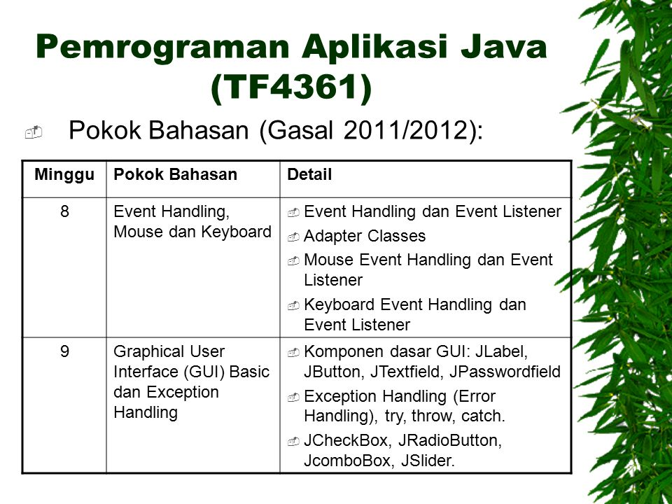 Pemrograman Aplikasi Java (TF4361)