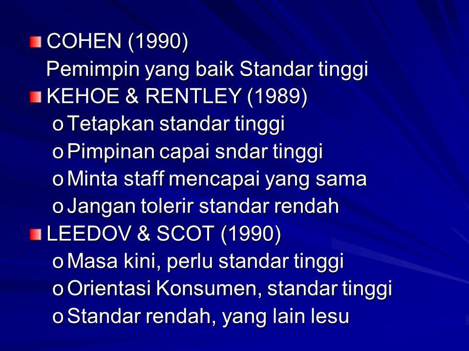 COHEN (1990) Pemimpin yang baik Standar tinggi. KEHOE & RENTLEY (1989) Tetapkan standar tinggi. Pimpinan capai sndar tinggi.