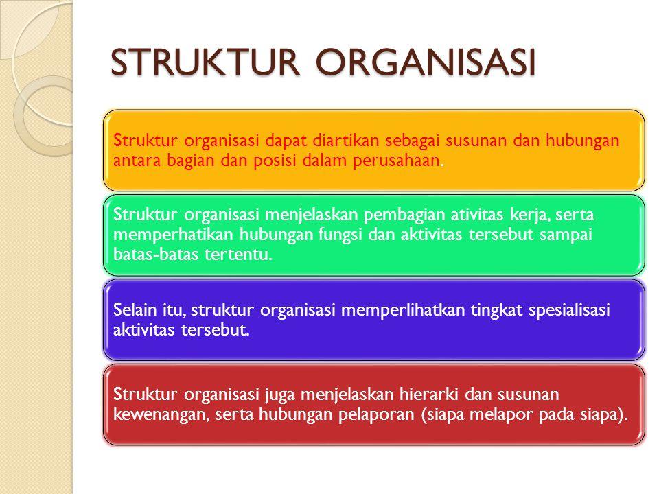 STRUKTUR ORGANISASI Struktur organisasi dapat diartikan sebagai susunan dan hubungan antara bagian dan posisi dalam perusahaan.