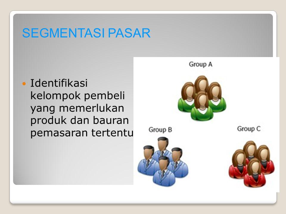 SEGMENTASI PASAR Identifikasi kelompok pembeli yang memerlukan produk dan bauran pemasaran tertentu.