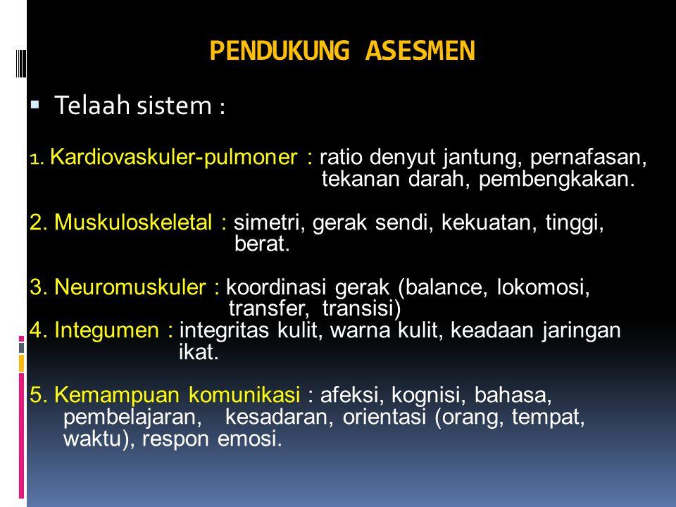 PENDUKUNG ASESMEN Telaah sistem :