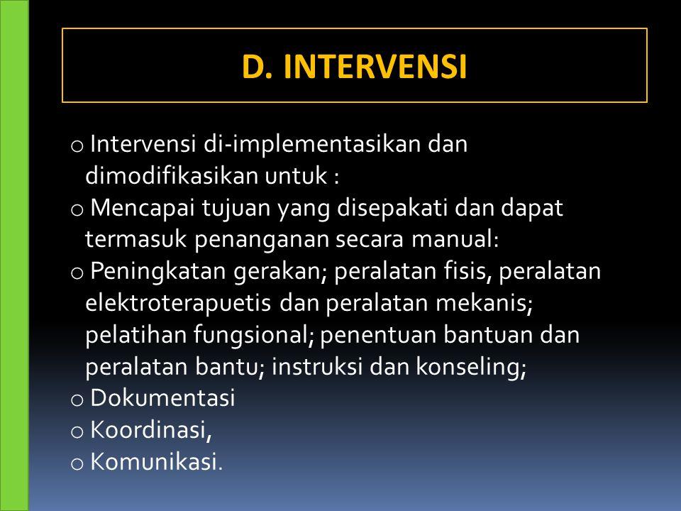 D. INTERVENSI Intervensi di-implementasikan dan