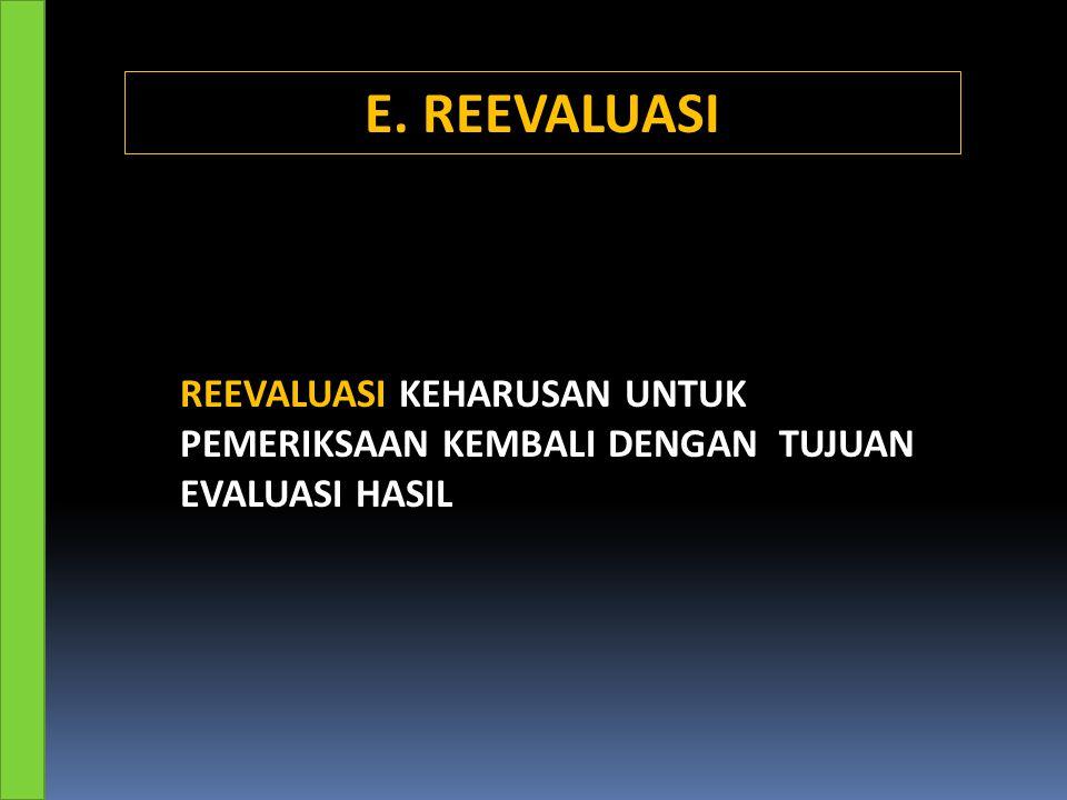 E. REEVALUASI REEVALUASI KEHARUSAN UNTUK PEMERIKSAAN KEMBALI DENGAN TUJUAN EVALUASI HASIL