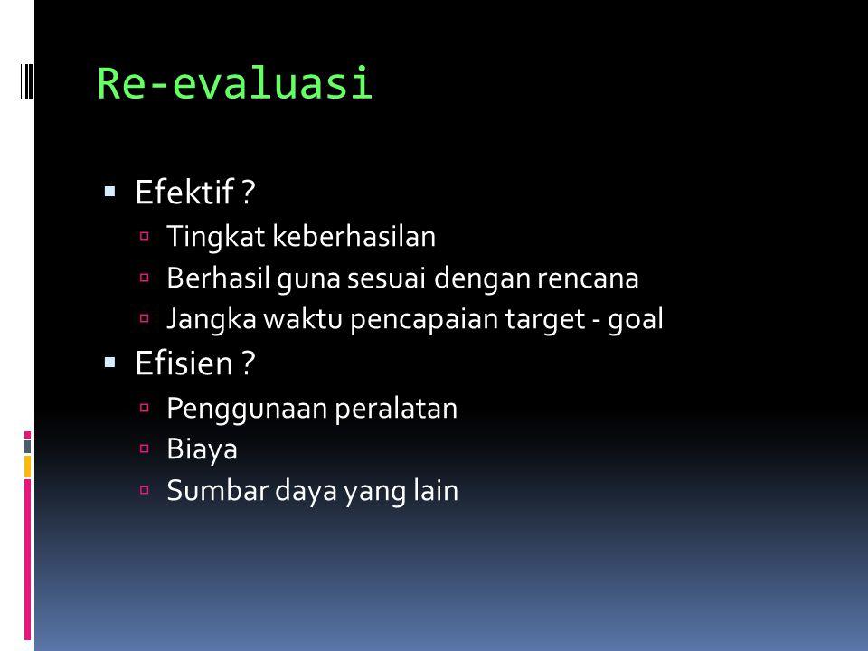 Re-evaluasi Efektif Efisien Tingkat keberhasilan