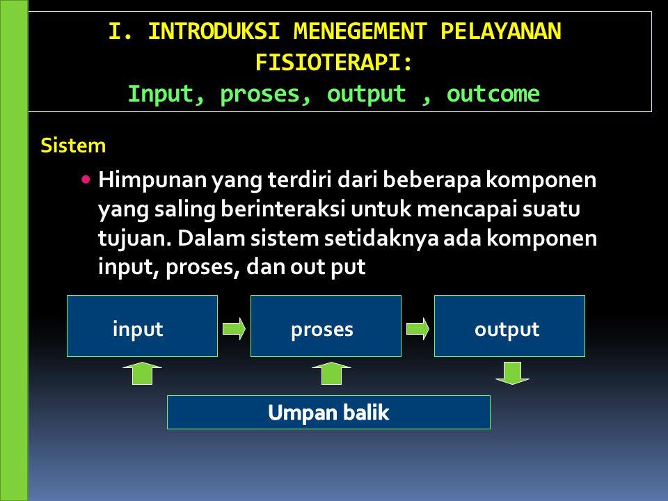 I. INTRODUKSI MENEGEMENT PELAYANAN FISIOTERAPI: Input, proses, output , outcome