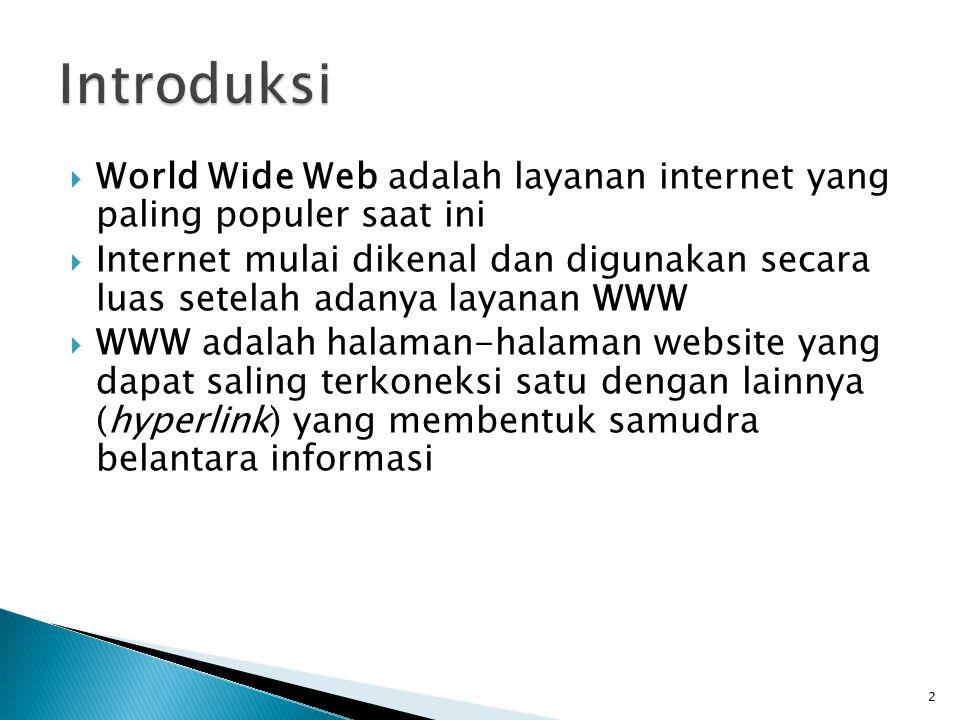 Introduksi World Wide Web adalah layanan internet yang paling populer saat ini.