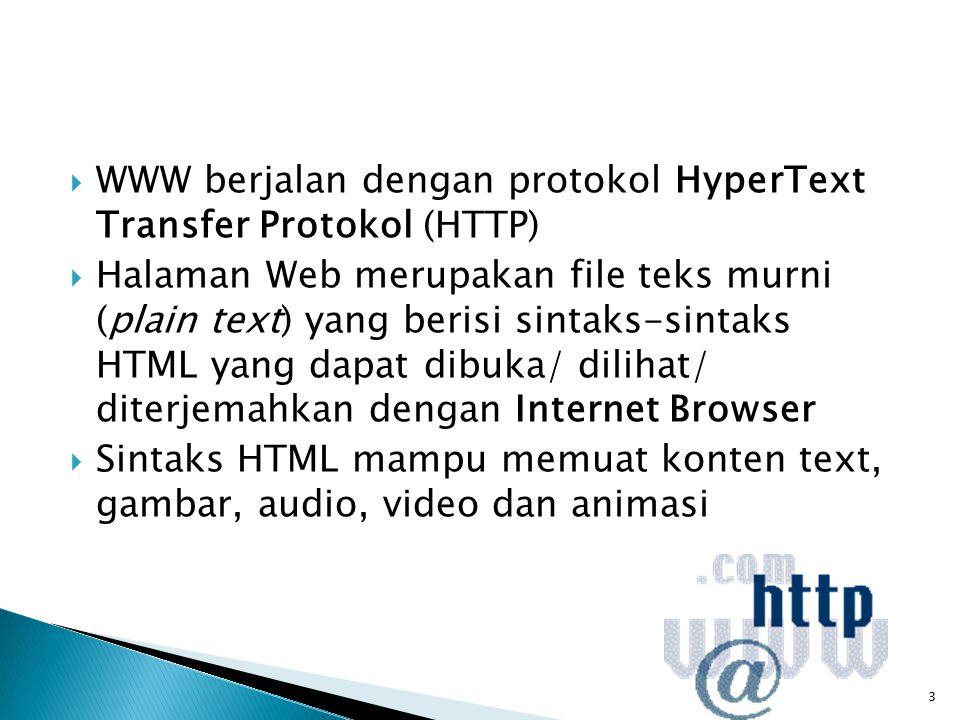 WWW berjalan dengan protokol HyperText Transfer Protokol (HTTP)