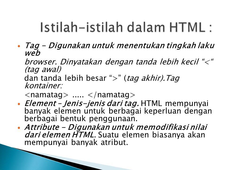 Istilah-istilah dalam HTML :