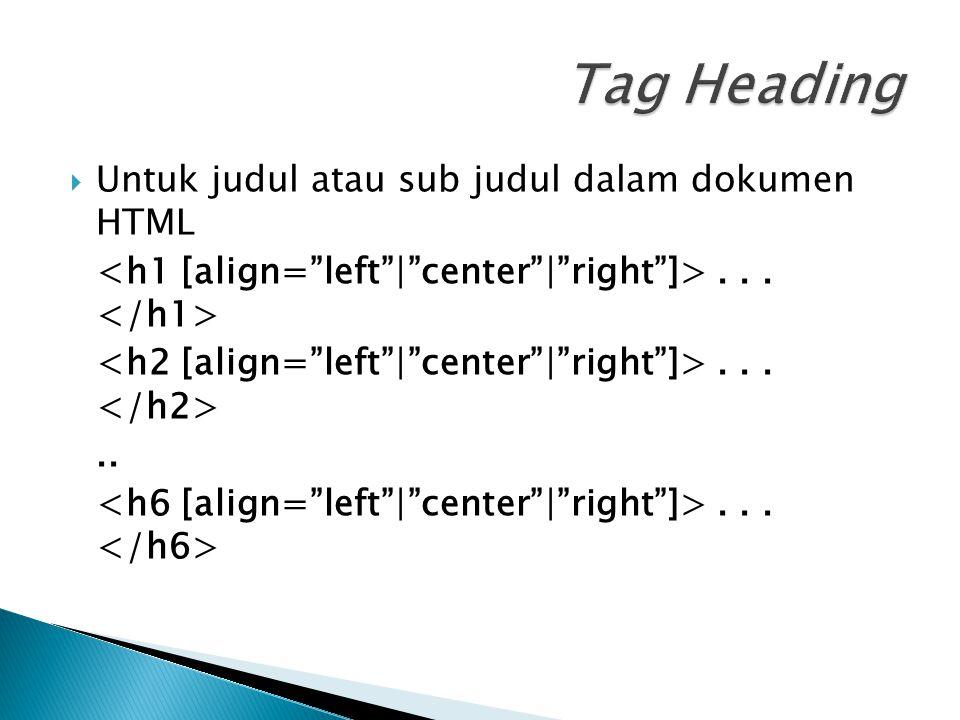 Tag Heading Untuk judul atau sub judul dalam dokumen HTML