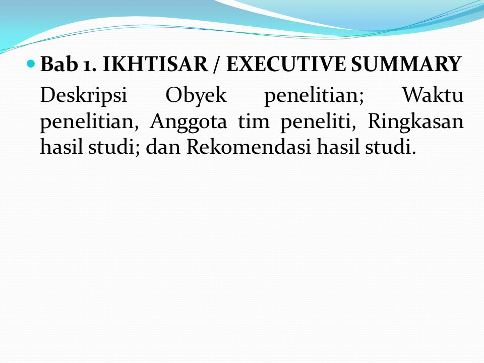 Bab 1. IKHTISAR / EXECUTIVE SUMMARY