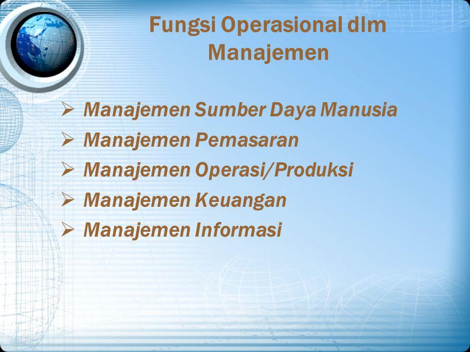 Fungsi Operasional dlm Manajemen