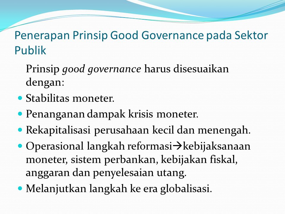 Penerapan Prinsip Good Governance pada Sektor Publik