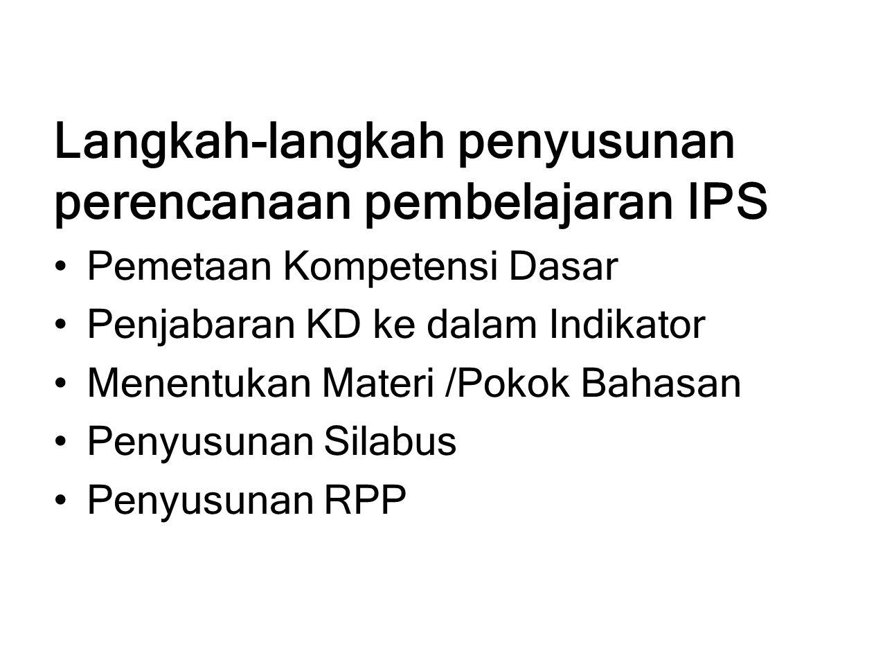 Langkah-langkah penyusunan perencanaan pembelajaran IPS