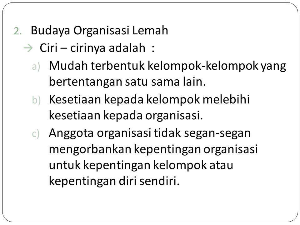 Budaya Organisasi Lemah