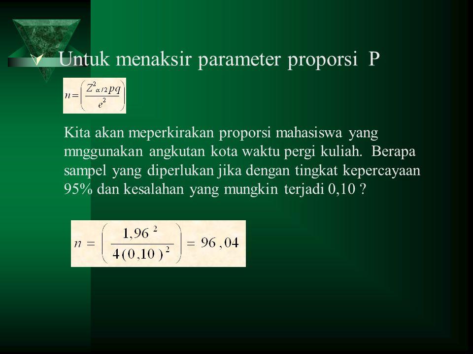 Untuk menaksir parameter proporsi P