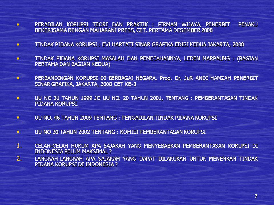 PERADILAN KORUPSI TEORI DAN PRAKTIK : FIRMAN WIJAYA, PENERBIT PENAKU BEKERJSAMA DENGAN MAHARANI PRESS, CET. PERTAMA DESEMBER 2008