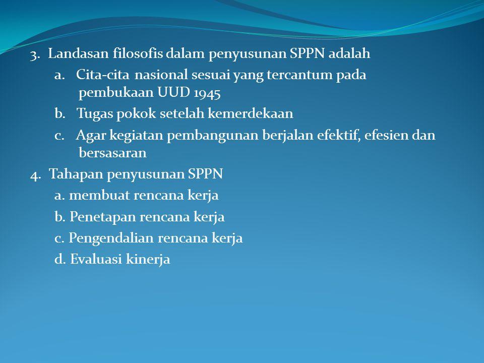 3. Landasan filosofis dalam penyusunan SPPN adalah
