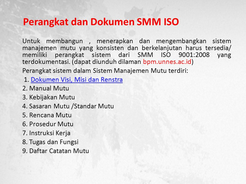 Perangkat dan Dokumen SMM ISO