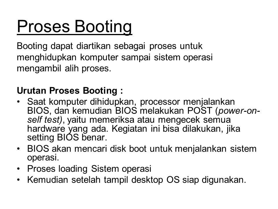 Proses Booting Booting dapat diartikan sebagai proses untuk