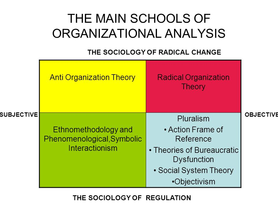 THE MAIN SCHOOLS OF ORGANIZATIONAL ANALYSIS