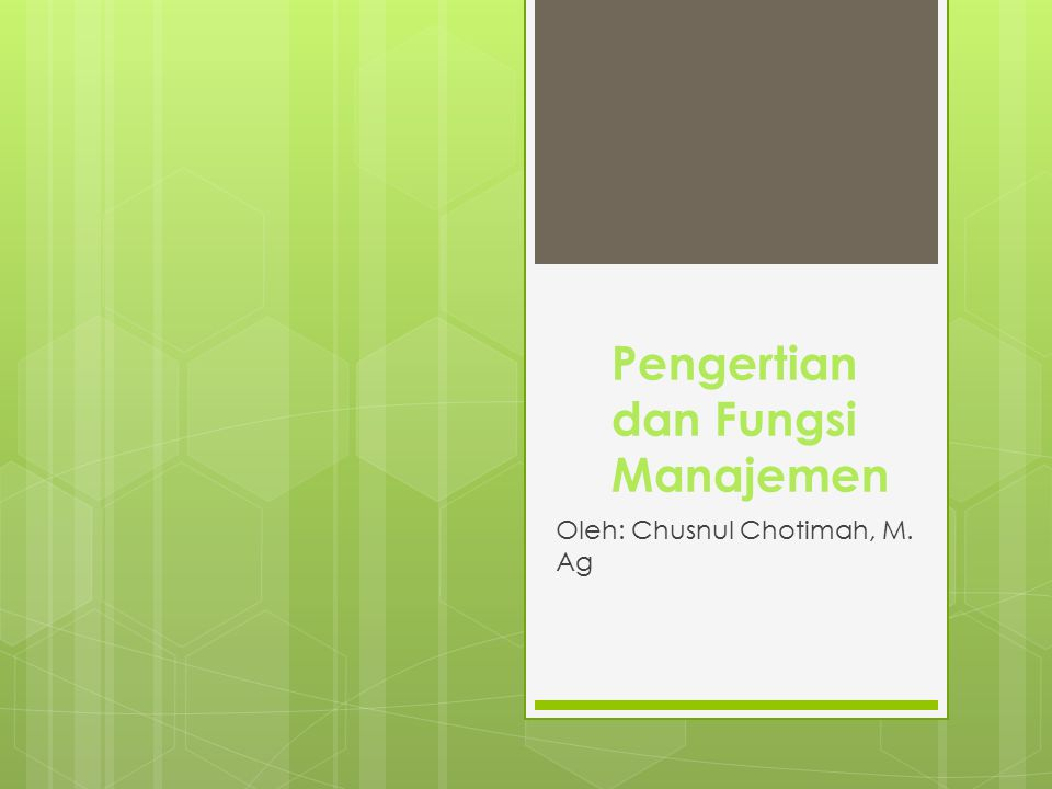 Pengertian dan Fungsi Manajemen