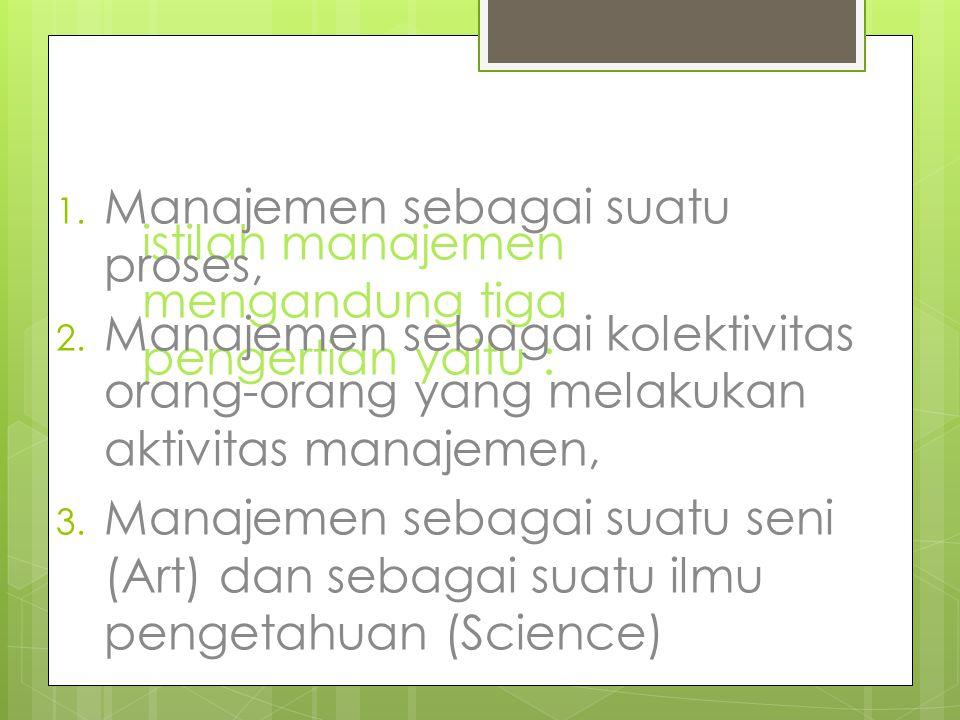 istilah manajemen mengandung tiga pengertian yaitu :