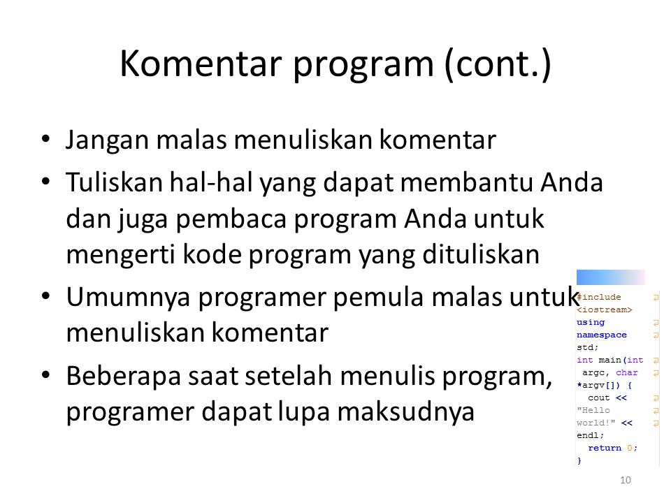 Komentar program (cont.)
