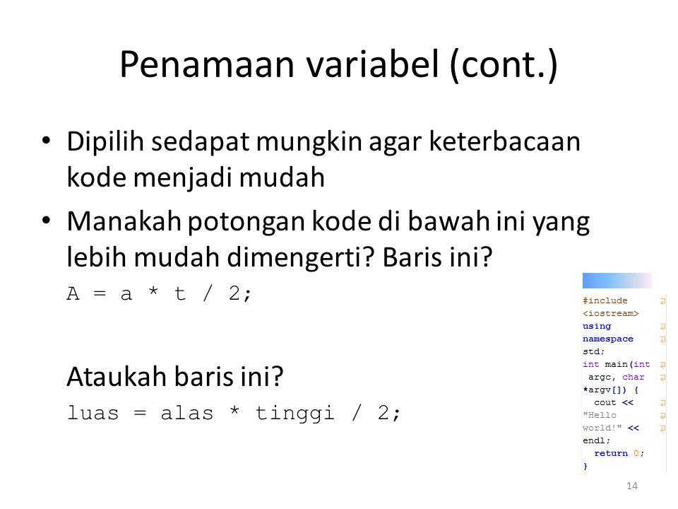 Penamaan variabel (cont.)