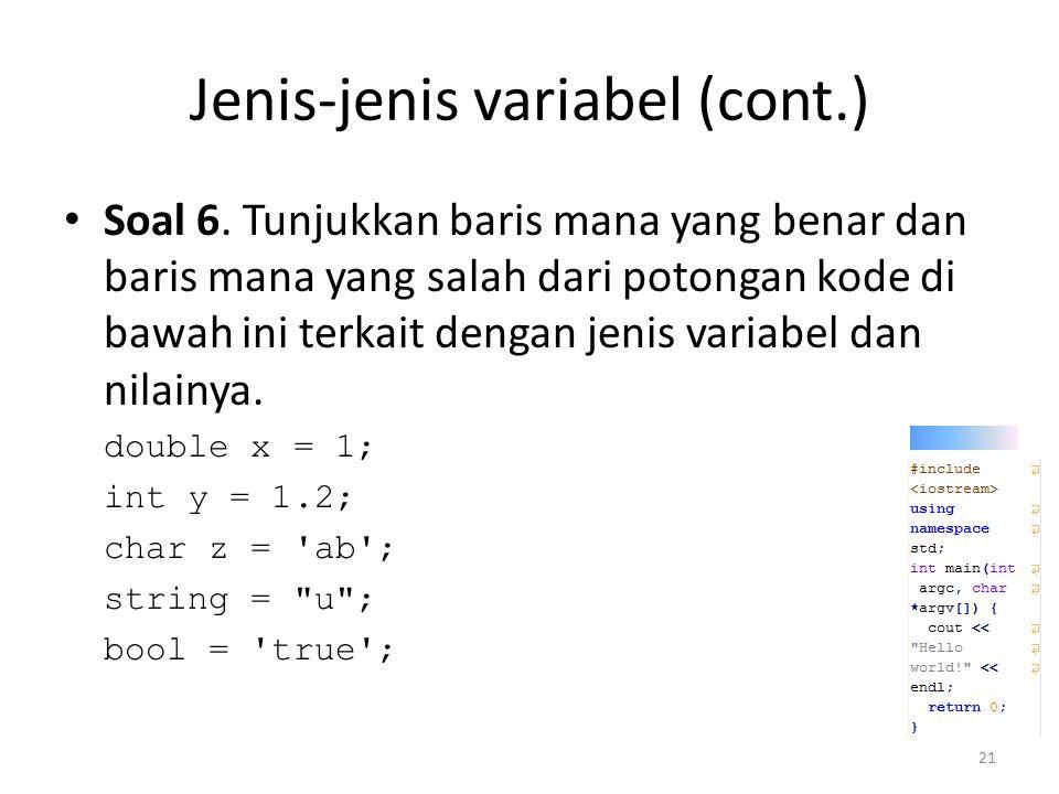 Jenis-jenis variabel (cont.)