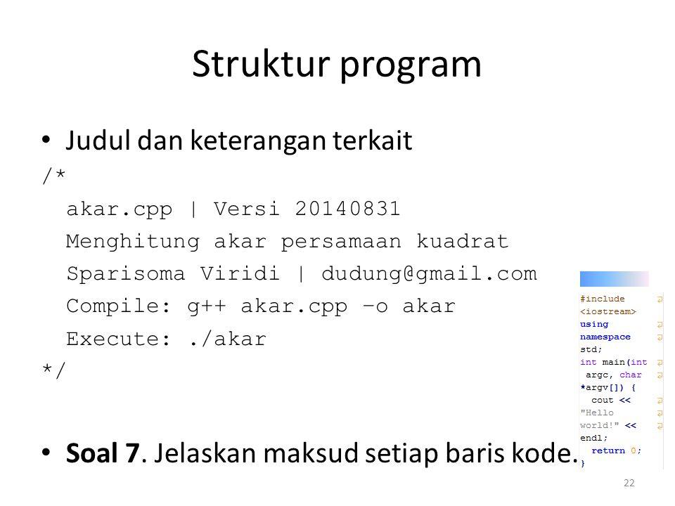 Struktur program Judul dan keterangan terkait