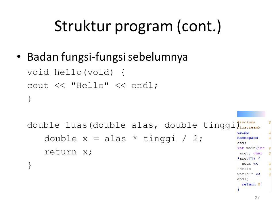 Struktur program (cont.)