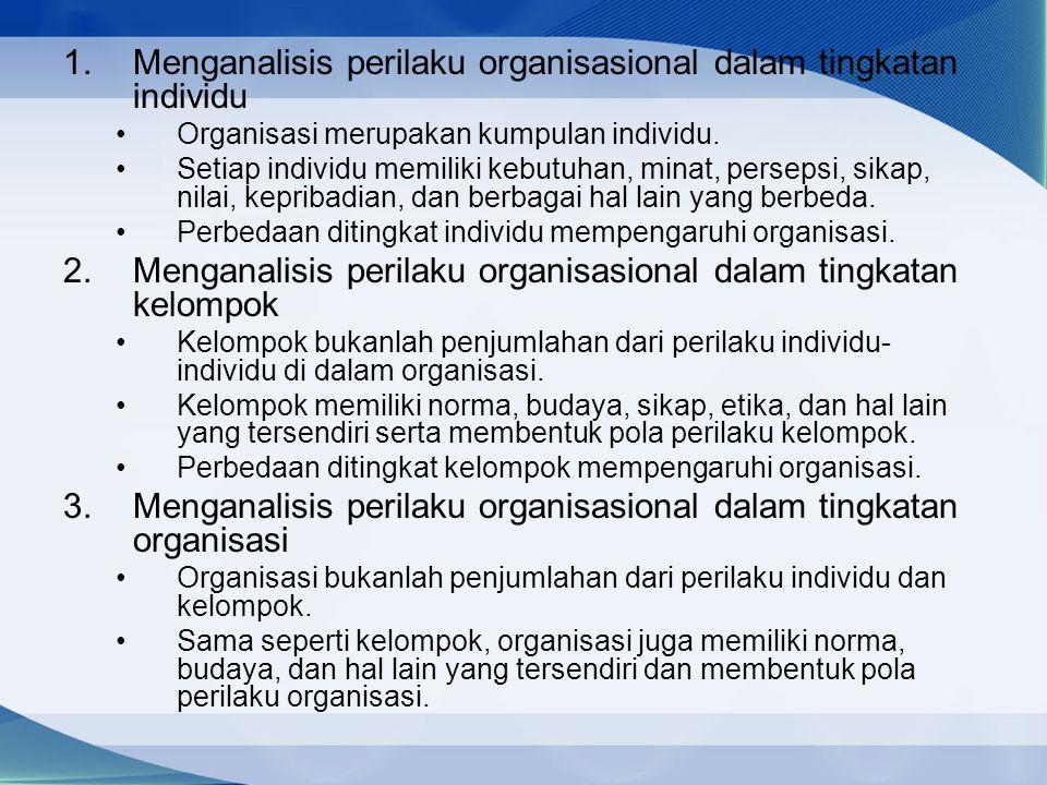 Menganalisis perilaku organisasional dalam tingkatan individu