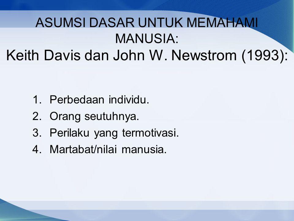 ASUMSI DASAR UNTUK MEMAHAMI MANUSIA: Keith Davis dan John W