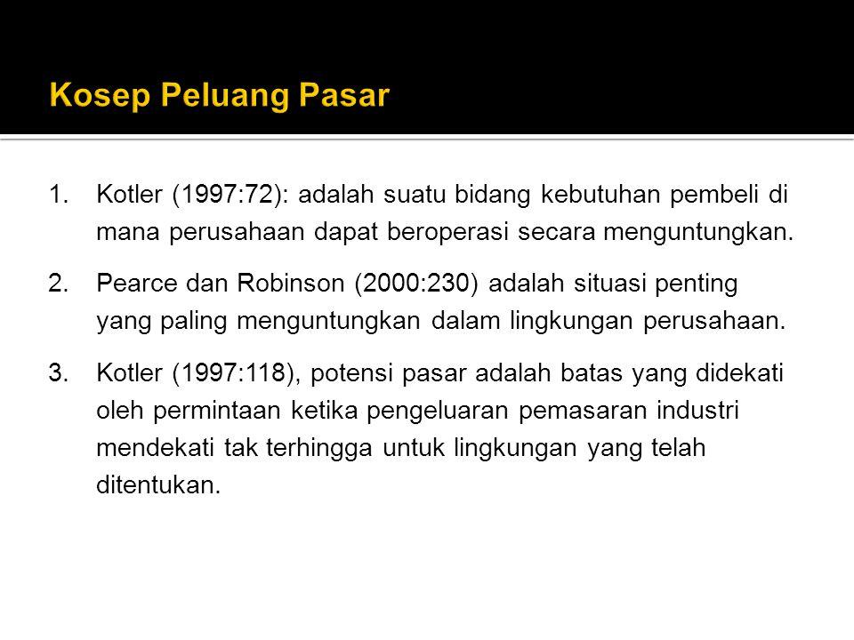 Kosep Peluang Pasar Kotler (1997:72): adalah suatu bidang kebutuhan pembeli di mana perusahaan dapat beroperasi secara menguntungkan.