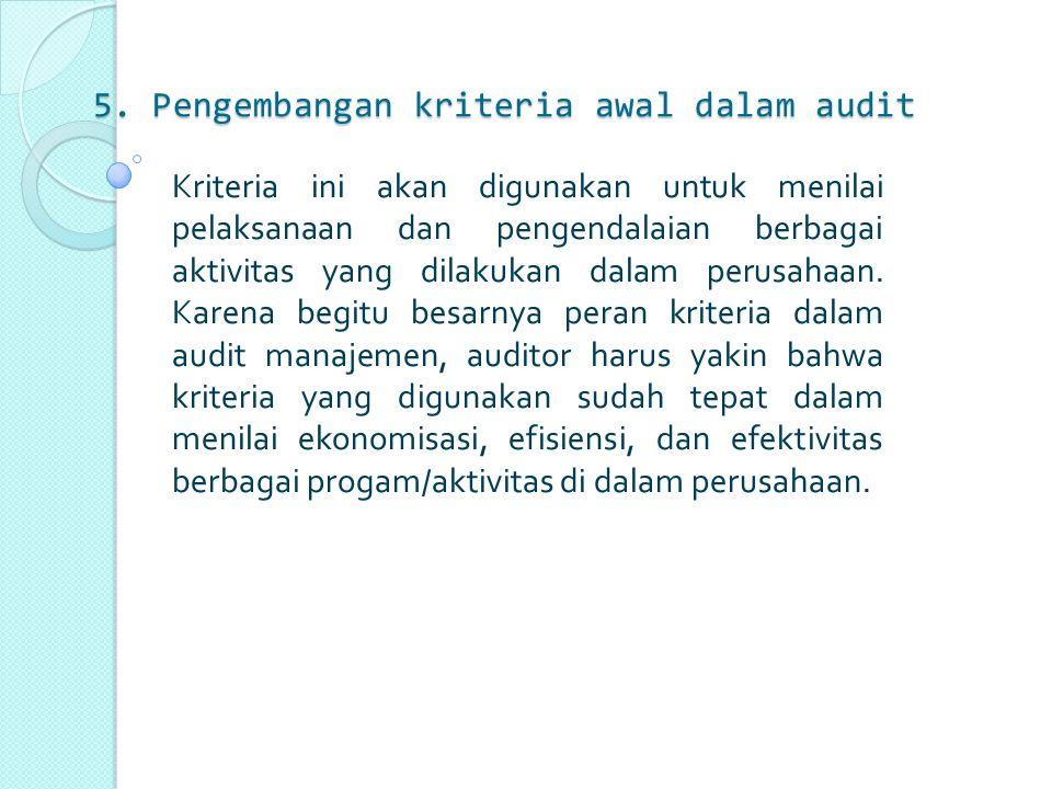 5. Pengembangan kriteria awal dalam audit