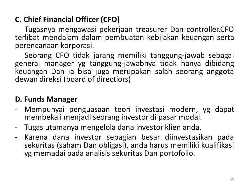C. Chief Financial Officer (CFO)