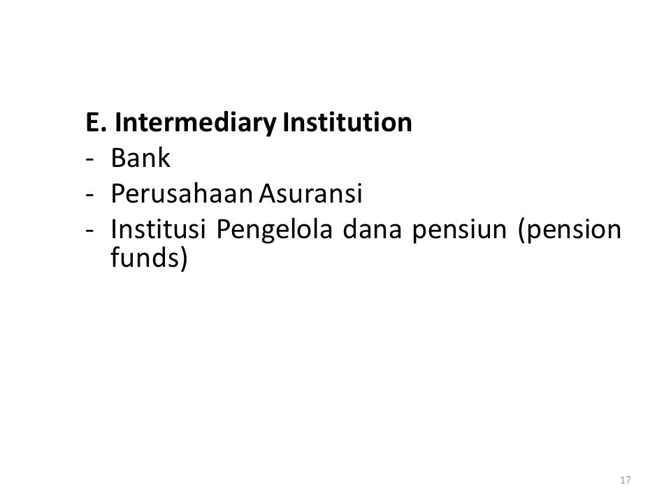 E. Intermediary Institution