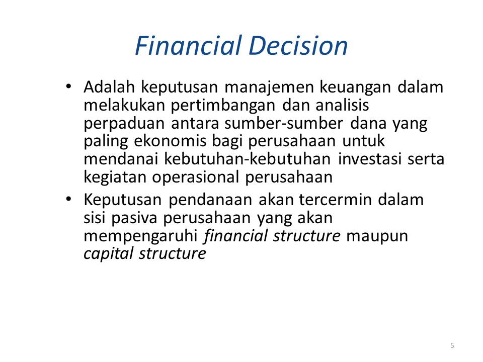 Financial Decision