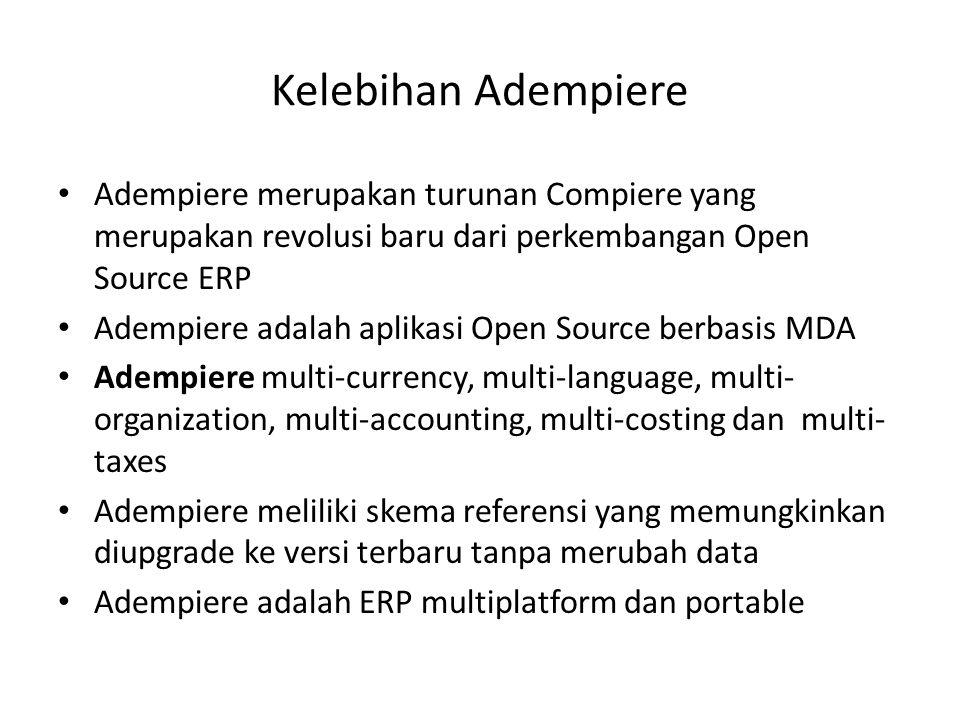 Kelebihan Adempiere Adempiere merupakan turunan Compiere yang merupakan revolusi baru dari perkembangan Open Source ERP.