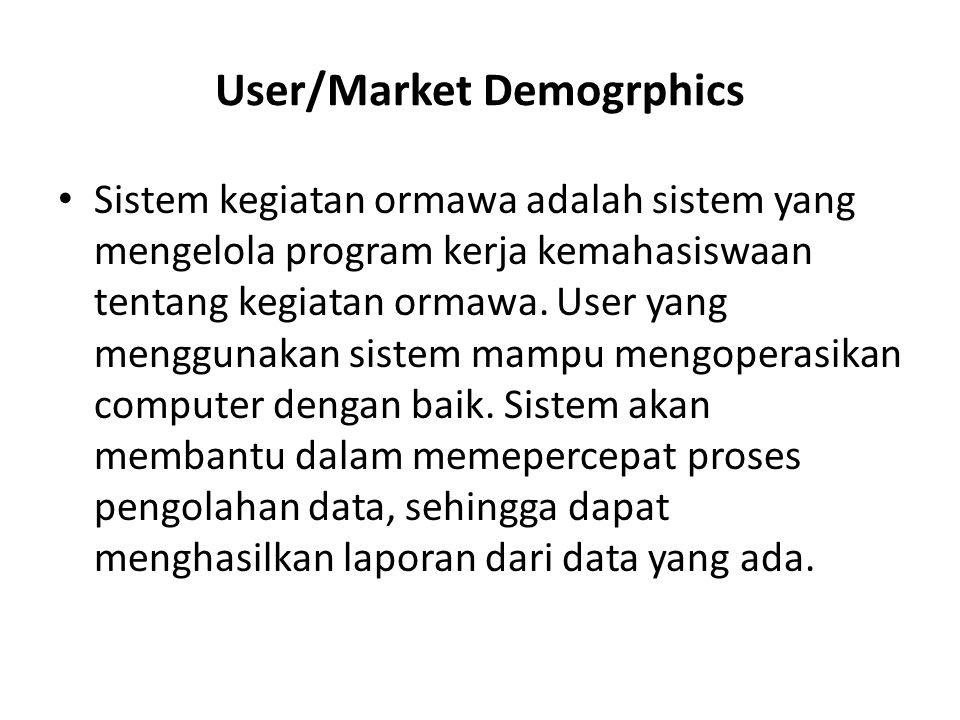 User/Market Demogrphics