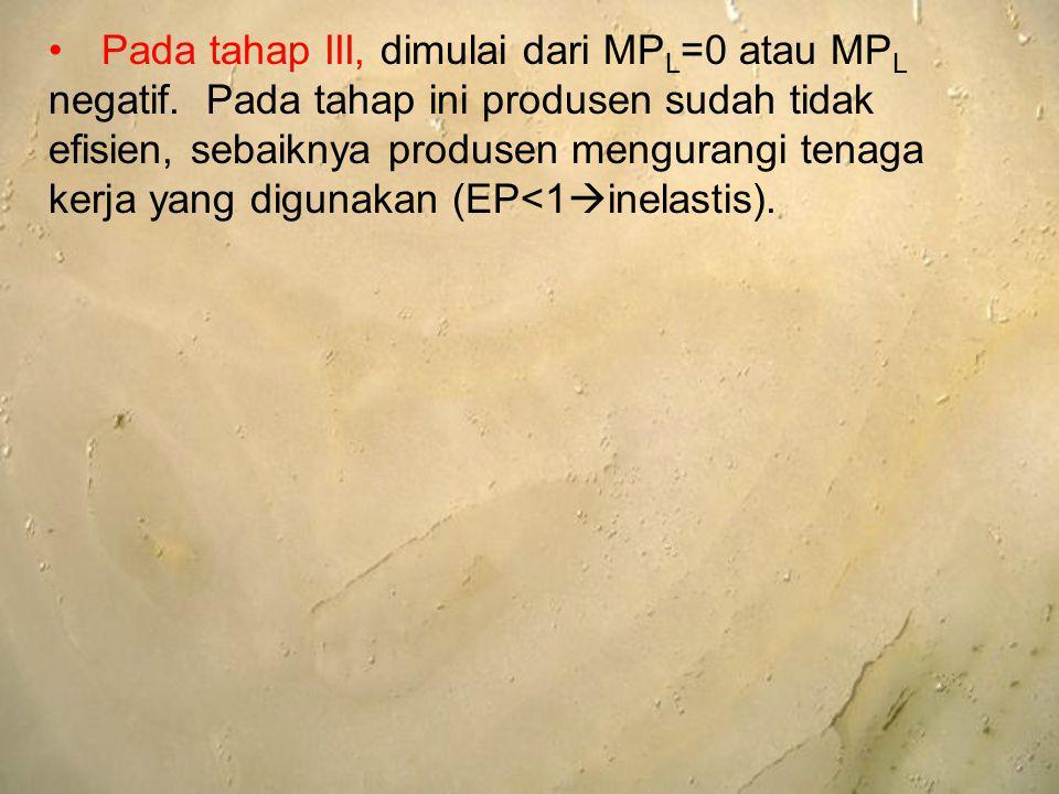 Pada tahap III, dimulai dari MPL=0 atau MPL negatif