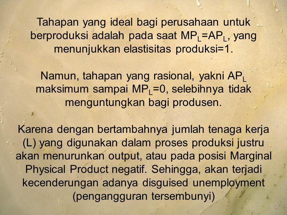 Tahapan yang ideal bagi perusahaan untuk berproduksi adalah pada saat MPL=APL, yang menunjukkan elastisitas produksi=1.