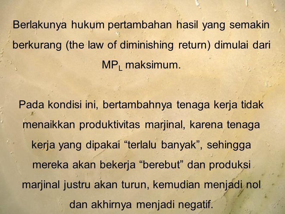 Berlakunya hukum pertambahan hasil yang semakin berkurang (the law of diminishing return) dimulai dari MPL maksimum.