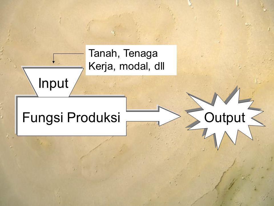 Input Fungsi Produksi Tanah, Tenaga Kerja, modal, dll Output