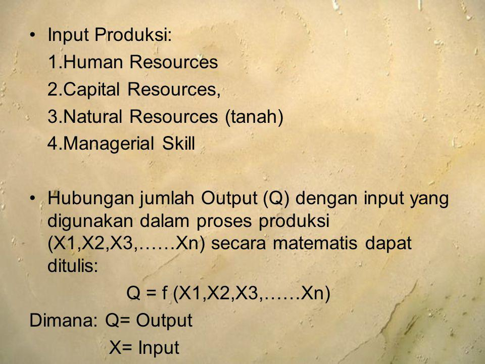 Input Produksi: 1.Human Resources. 2.Capital Resources, 3.Natural Resources (tanah) 4.Managerial Skill.