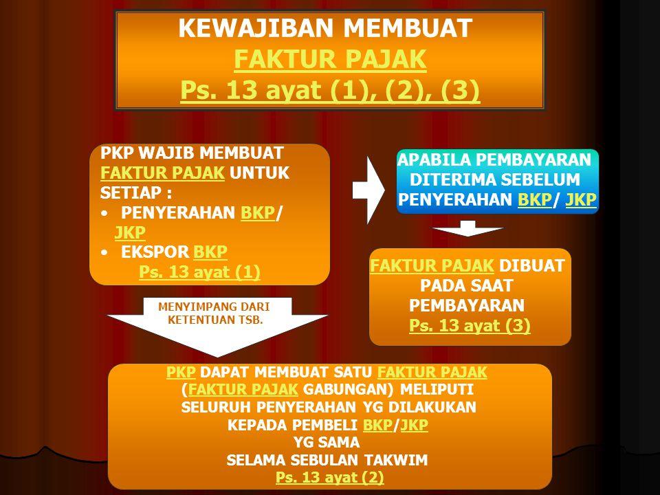 KEWAJIBAN MEMBUAT FAKTUR PAJAK Ps. 13 ayat (1), (2), (3)